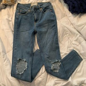 Free People Busted Knee Light Wash Jeans